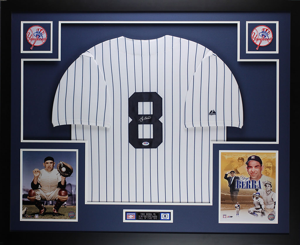 Yogi Berra Autographed and Framed White Yankees Jersey Auto PSA ...