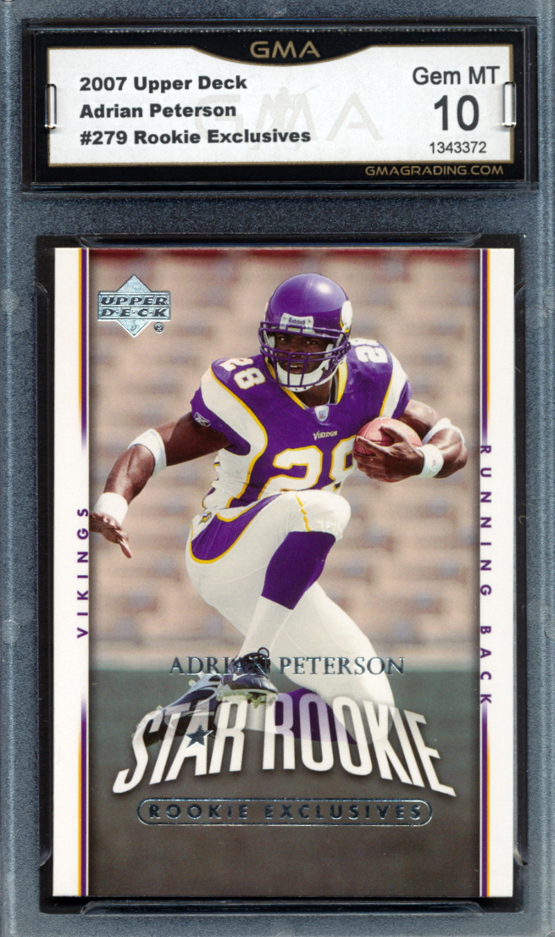 Details About 2007 Upper Deck Rookie Exclusives 279 Adrian Peterson Rookie Card Graded Gma 10