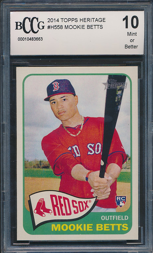 Details About 2014 Topps Heritage H558 Mookie Betts Rookie Card Graded Bccg 10