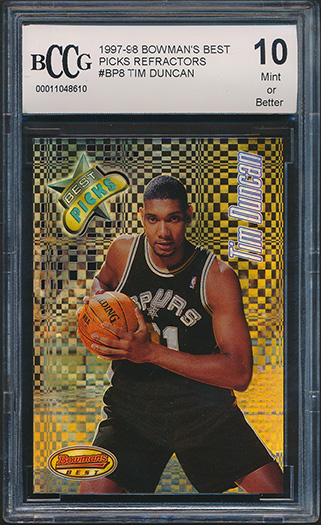 Details About 1997 98 Bowmans Best Picks Refractor Bp8 Tim Duncan Rookie Card Graded Bccg 10