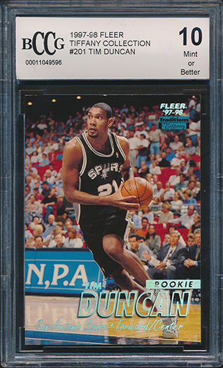 Details About 1997 98 Fleer Tiffany Collection 201 Tim Duncan Rookie Card Graded Bccg 10