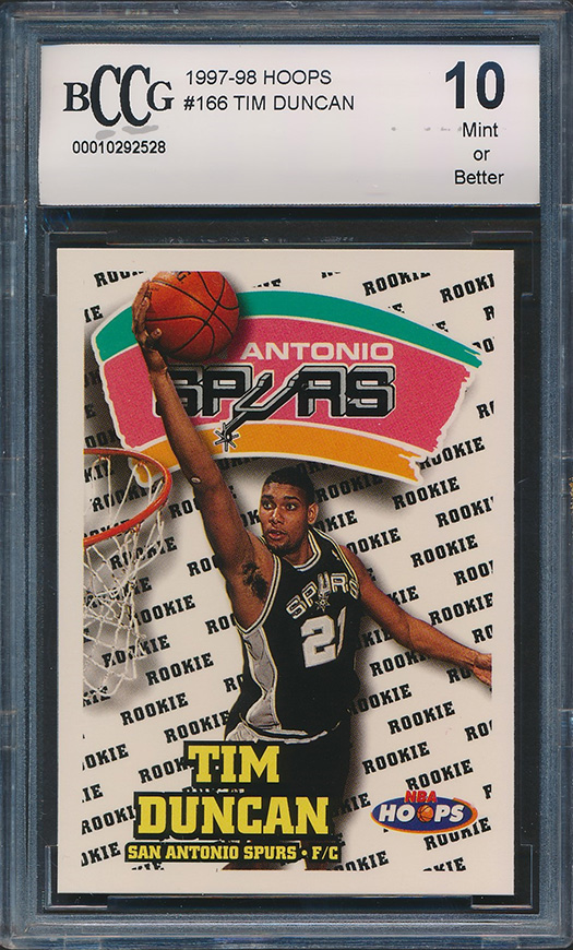 Details About 1997 98 Hoops 166 Tim Duncan Rookie Card Graded Bccg 10