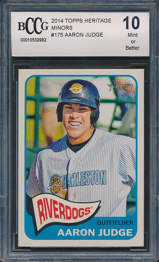 Details About 2014 Topps Heritage Minors 175 Aaron Judge Rookie Card Graded Bccg 10