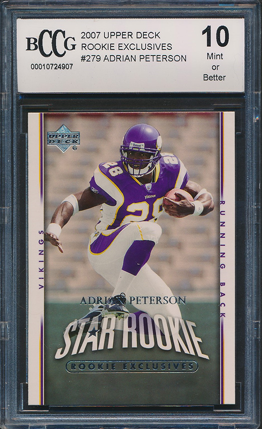 Details About 2007 Upper Deck Exclusives 279 Adrian Peterson Rookie Card Graded Bccg 10