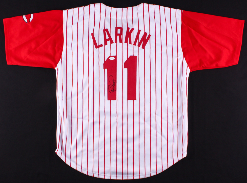 on sale f8cd3 3570d Details about Barry Larkin Signed Cincinnati Reds Pinstriped Jersey JSA COA