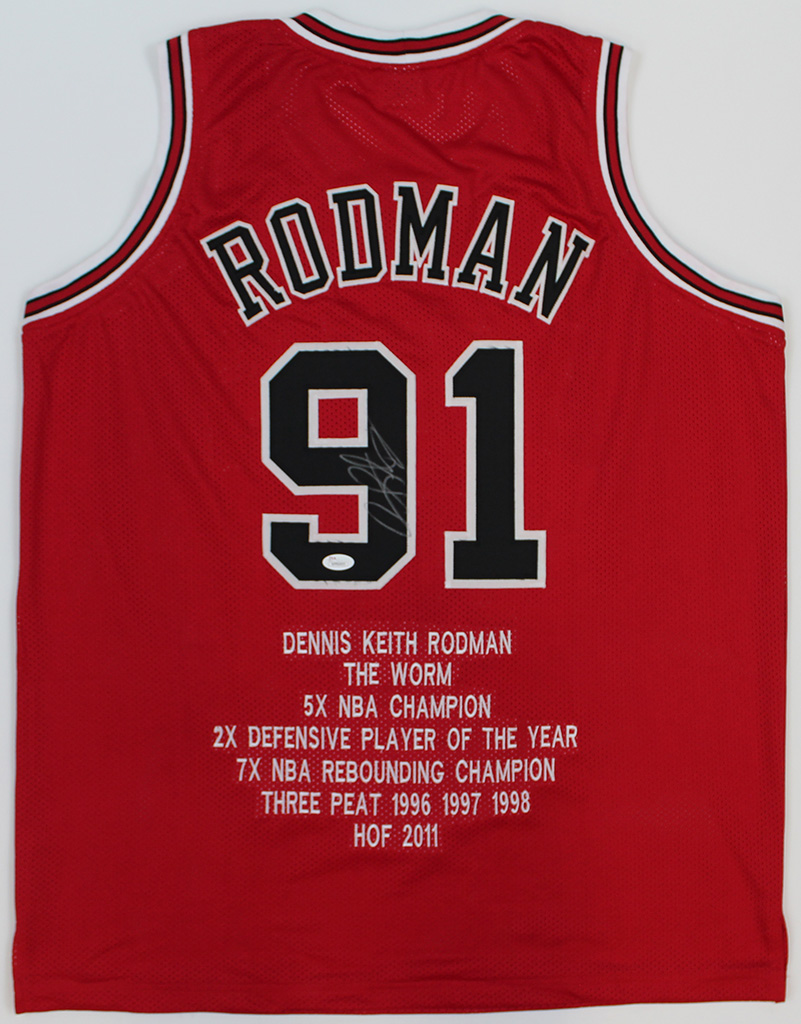 new product 03295 9cac3 Details about Dennis Rodman Signed Chicago Bulls Red Jersey JSA COA