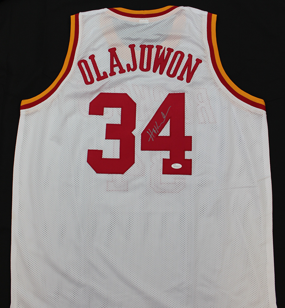 meet cf10e 148fc Details about Hakeem Olajuwon Signed Houston Rockets White Jersey JSA COA