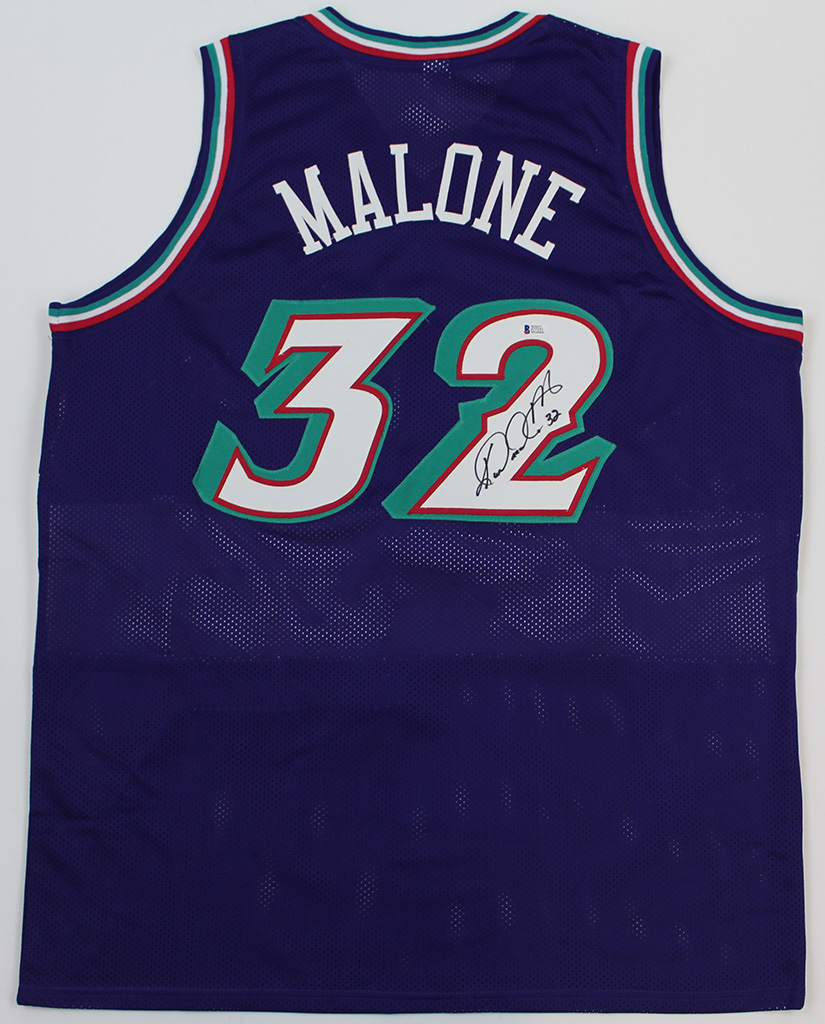 new concept 1e404 f73ba Details about Karl Malone Signed Utah Jazz Purple Jersey Beckett COA