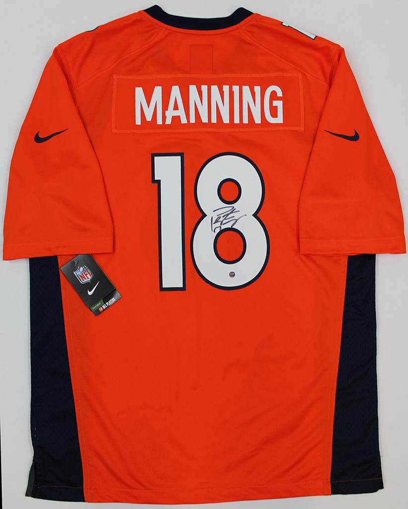 Peyton Manning Signed Denver Broncos Orange Nike Jersey Steiner COA ... 7a9455ab7